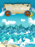 Cartoon scene of sea - sunny weather / with banner for different usage - pirate theme with swords Royalty Free Stock Photography