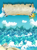Cartoon scene of sea - sunny weather / with banner for different usage - pirate theme with swords Stock Photography