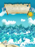 Cartoon scene of sea - sunny weather / with banner for different usage - pirate theme with swords Royalty Free Stock Photos