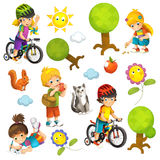 Cartoon scene with set of different elements people and summer activity stock illustration