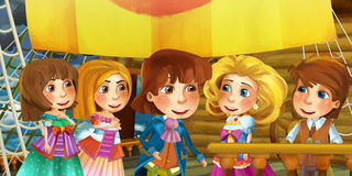 Cartoon scene on the ship - prince captain and his guests Royalty Free Stock Images