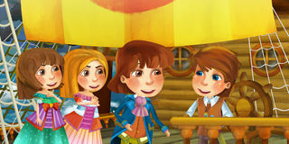 Cartoon scene on the ship - prince captain and his guests Royalty Free Stock Photography