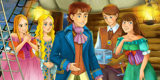 Cartoon scene on the ship - prince with his guests Stock Photography