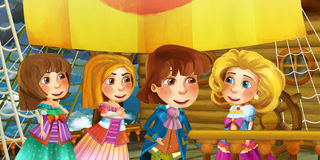 Cartoon scene on the ship - prince with his guests Royalty Free Stock Photos