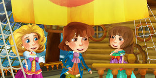 Cartoon scene on the ship - prince with his guests Stock Image