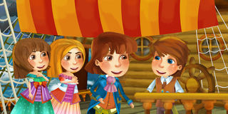 Cartoon scene on the ship - prince with his guests Stock Photos