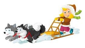 Cartoon scene - on the ski having fun Royalty Free Stock Photos