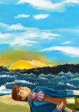 Cartoon scene of sleeping or unconscious man on the beach near the ocean - looking like prince. Happy and colorful traditional illustration for children vector illustration