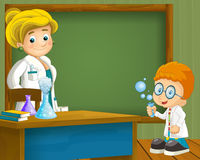 Cartoon scene with smart child teacher standing and having fun with science near the blackboard Stock Images
