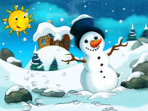 Cartoon scene with a snowman - with footsteps - background for different fairy tales. Beautiful and colorful illustration for the children Stock Photography