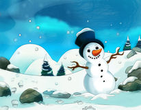 Cartoon scene with a snowman - with footsteps - background for different fairy tales. Beautiful and colorful illustration for the children Stock Images