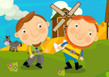 Cartoon scene with some farmers Royalty Free Stock Photography
