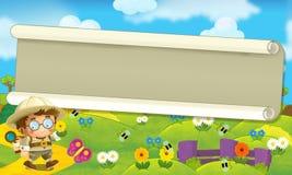 Cartoon scene with some happy traveler - scenery stock illustration