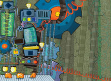 Cartoon scene with some mechanical machine and high energy components - stage for different usage Stock Image