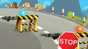 Cartoon scene of street being repaired - construction works Royalty Free Stock Photo