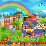 Cartoon scene of a street and park - small town - stage for different usage - children playing in the park Royalty Free Stock Photos