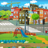 Cartoon scene of a street - small town - stage for different usage Royalty Free Stock Image