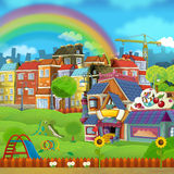 Cartoon scene of a street - small town - stage for different usage Stock Image