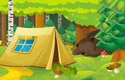 Cartoon scene with tent in the forest - bear sleeping near the tent Stock Image