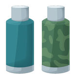 Cartoon scene thermos -  - two versions military and normal Stock Photo