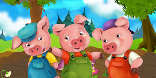 Cartoon scene three pig brothers going on a trip on a hill Royalty Free Stock Photo