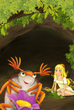 Cartoon scene of tiny young girl sitting underground neat the bug vector illustration