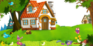 Cartoon scene of traditional house near the forest Royalty Free Stock Image
