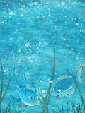 Cartoon scene with two fishes underwater Stock Image