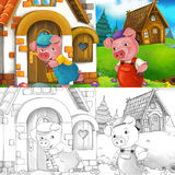 Cartoon scene of two happy pigs dancing in front of their houses - with coloring page Stock Photo