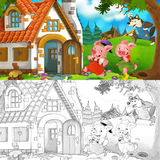 Cartoon scene of two running pigs to the house of their brother - with coloring page. Happy and beautiful illustration for children Royalty Free Stock Photography