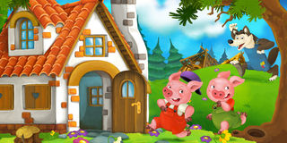Cartoon scene of two running pigs to the house of their brother Stock Photos