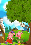 Cartoon scene of two running pigs to the house of their brother Royalty Free Stock Photography