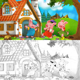 Cartoon scene of two running pigs to the house of their brother stock illustration