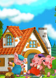 Cartoon scene of two running pigs to the house of their brother Stock Photo