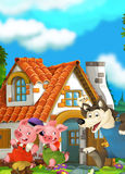 Cartoon scene of two running pigs to the house of their brother - wolf running behind Royalty Free Stock Images