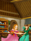 Cartoon scene of two well dressed girls talking and laughing in the kitchen. Happy and colorful traditional illustration for children Stock Photo