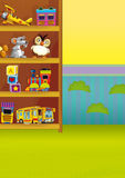 Cartoon scene with wardrobe full of toys - scene for different usage Royalty Free Stock Image