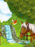 Cartoon scene with waterfall inside the forest - with horse on the first stage Royalty Free Stock Images