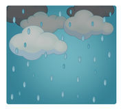 Cartoon scene with weather - rainy Royalty Free Stock Photos