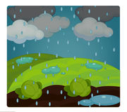 Cartoon scene with weather - rainy - stormy Stock Photo