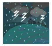Cartoon scene with weather - storm over the village - thunders Stock Photo