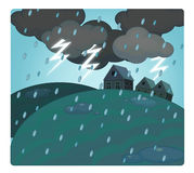 Cartoon scene with weather - storm over the village - thunders Stock Image