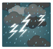 Cartoon scene with weather - storm - thunders Royalty Free Stock Image