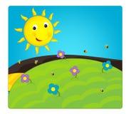 Cartoon scene with weather - sunny meadow Stock Photo