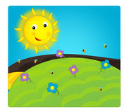 Cartoon scene with weather - sunny meadow Stock Image
