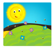 Cartoon scene with weather - sunny meadow Royalty Free Stock Images