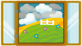 Cartoon scene with weather in the window - getting stormy Stock Image