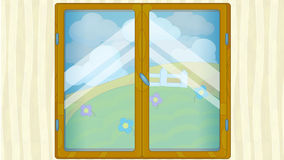 Cartoon scene with weather in the window - getting stormy Royalty Free Stock Image