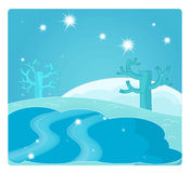 Cartoon scene with weather - winter - ice Royalty Free Stock Photo