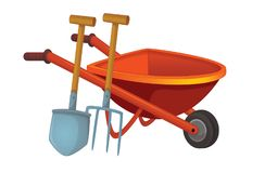Cartoon scene with wheelbarrow with gardenin or farm tool stock illustration